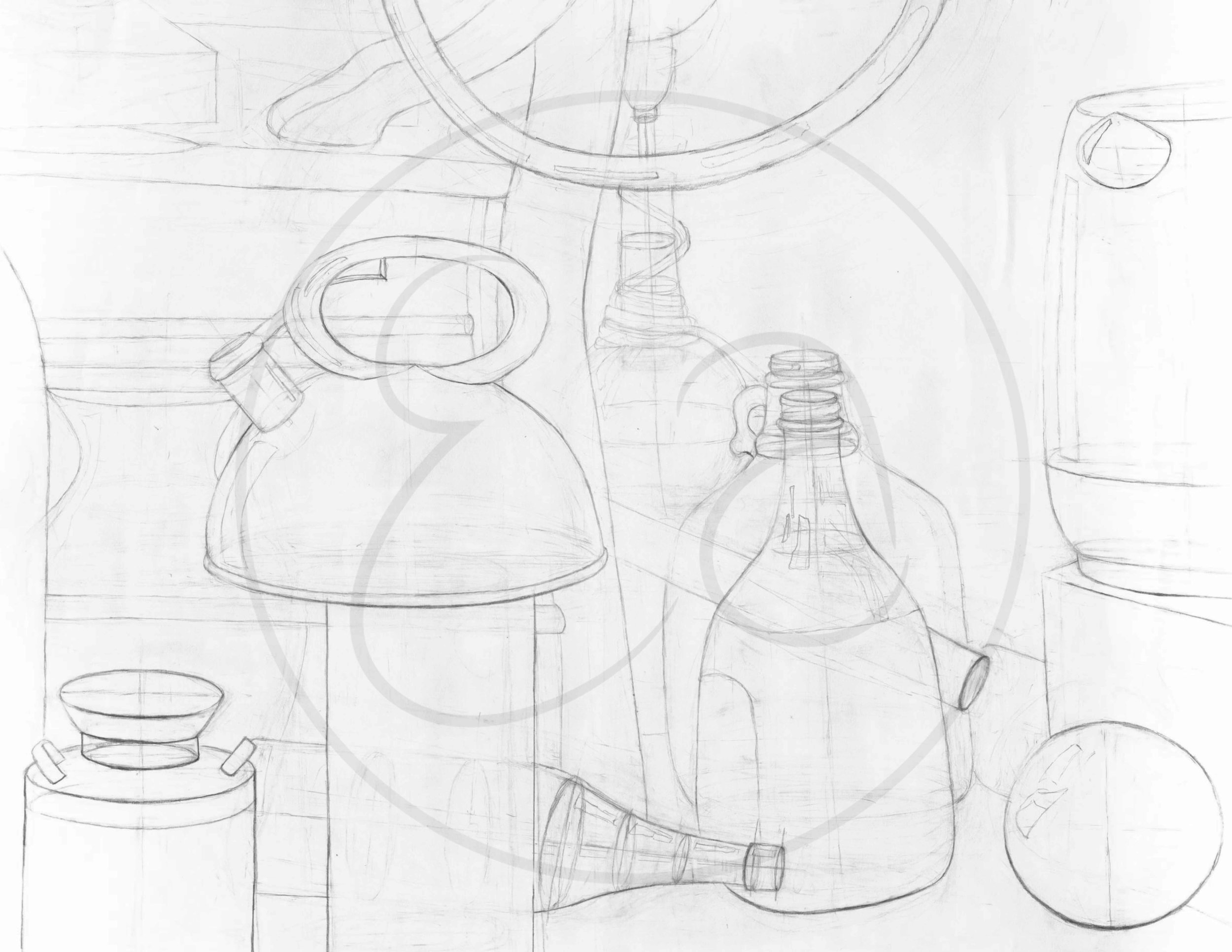 Ellipse still life with kettle, wine bottles, and other elliptical objects