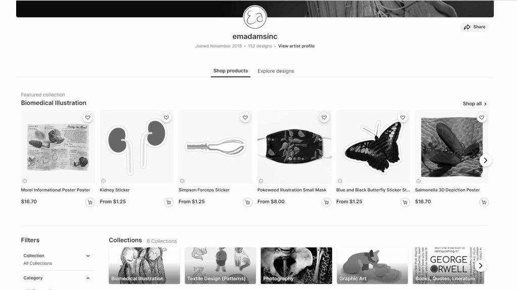 online redbubble store screenshot